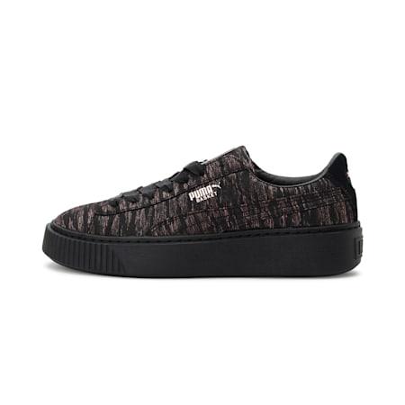 Basket Platform Velvet Rope Women's Shoes, Puma Black-Puma Black, small-IND