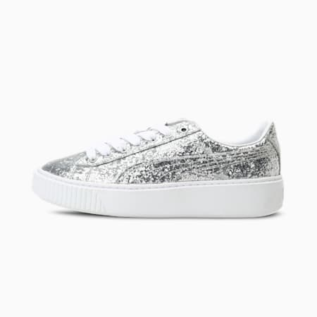 Basket Platform Glitter Women's Shoes, Silver-Silver, small-IND