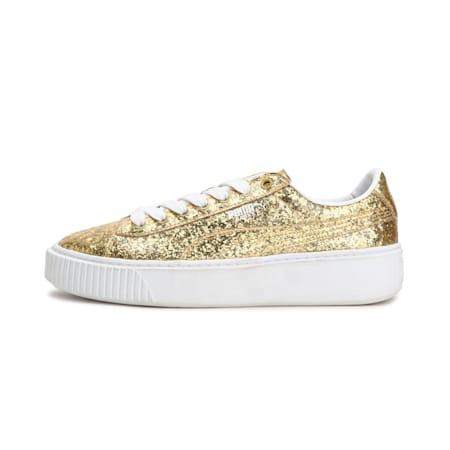 Basket Platform Glitter Women's Shoes, Gold-Gold, small-IND