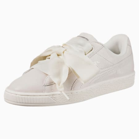 Basket Heart Opulence Women's Sneakers, Puma White-Puma White, small