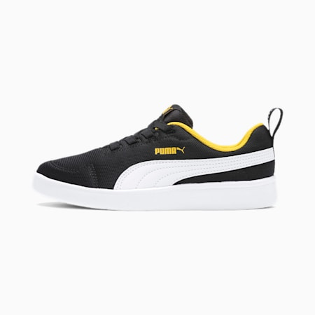 Courtflex Mesh Kids' Trainers, Black-White-Yellow, small