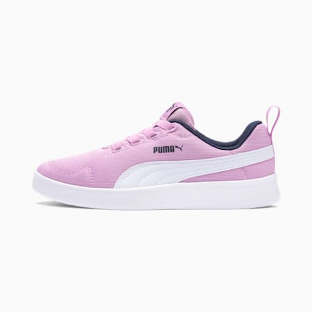 Courtflex Mesh Kids' Trainers, Orchid-Puma White-Peacoat, small