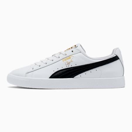 Zapatos deportivos Clyde Core con metalizado para hombre, Puma White-Puma Black-Puma Team Gold, pequeño