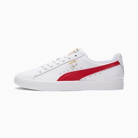 Zapatos deportivos Clyde Core con metalizado para hombre, Puma White-Barbados Cherry-Puma Team Gold, pequeño