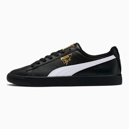 Zapatos deportivos Clyde Core con metalizado para hombre, Puma Black-Puma White-Puma Team Gold, pequeño