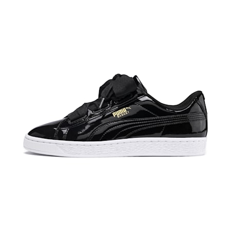 Basket Heart Patent Sneakers JR, Black-PRISM PINK-Gold-White, small