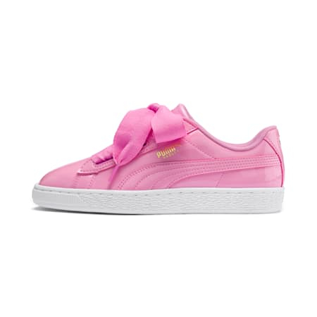Basket Heart Patent Sneakers JR, PRISM PINK-Pcoat-Gold-White, small