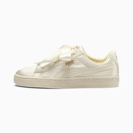 Basket Heart Tween Youth Girls' Trainers, Whisper White-Gold, small