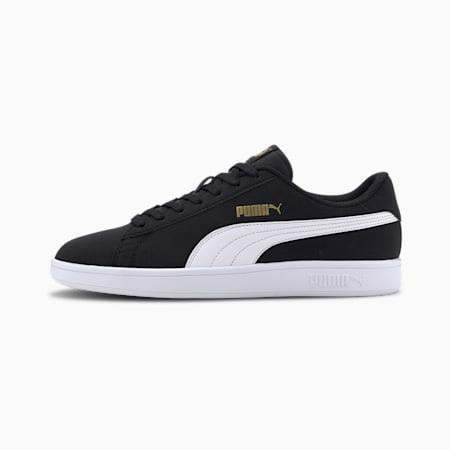 PUMA Smash v2 Buck Sneakers, Puma Black-Puma White-Gold, small-IND