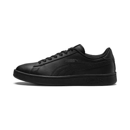 PUMA Smash v2 JR Leather Sneakers, Puma Black-Puma Black, small-IND
