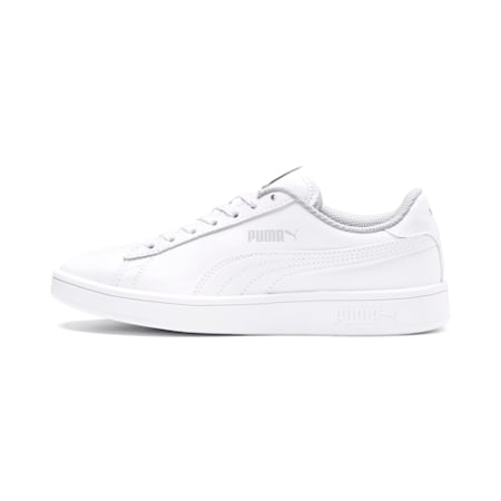 PUMA Smash v2 Youth Sneaker, Puma White-Puma White, small