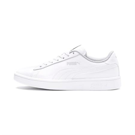 Zapatos deportivos PUMA Smash v2 de cuero JR, Puma White-Puma White, pequeño