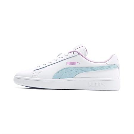 Młodzieżowe buty sportowe Puma Smash v2, White-Fair Aqua-Pale Pink, small