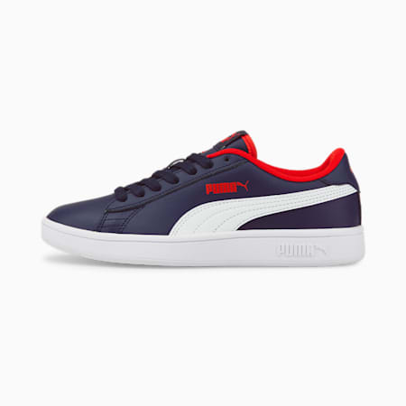 Puma Smash v2 Youth Trainers, Peacoat-Puma White-High Risk Red, small