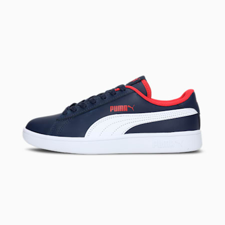 PUMA Smash v2 Leather Kid's Sneakers, Peacoat-Puma White-High Risk Red, small-IND
