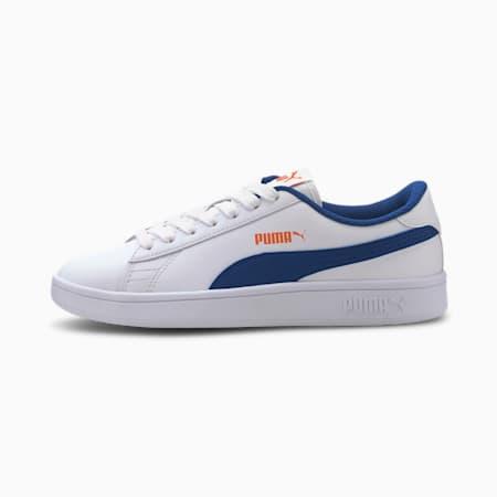Młodzieżowe buty sportowe Puma Smash v2, Puma White-Bright Cobalt, small