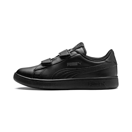 Smash v2 Leather Kids' Trainers, Puma Black-Puma Black, small-SEA