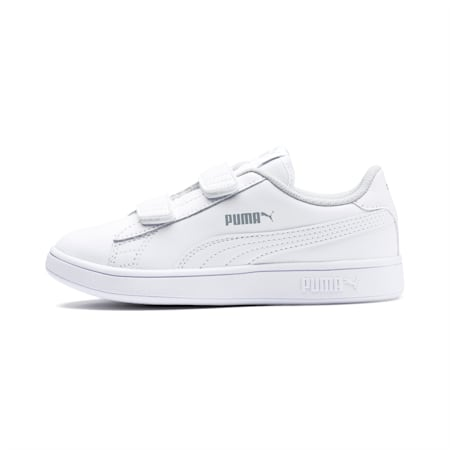 Smash v2 Leather Kids' Trainers, Puma White-Puma White, small
