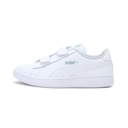 Smash v2 Leather Kids' Shoes, Puma White-Puma White, small-IND