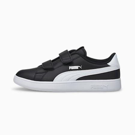 Dziecięce buty sportowe Smash v2 Leather, Puma Black-Puma White, small