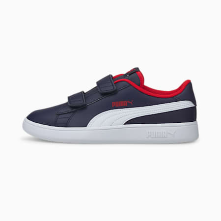 Smash v2 Leather Kids' Trainers, Peacoat-Puma White-High Risk Red, small
