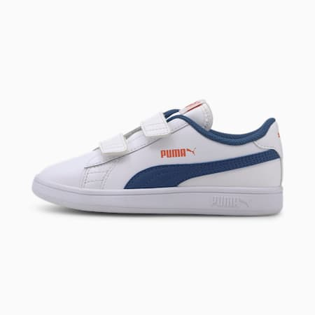 Smash v2 Leather Kids' Trainers, Puma White-Bright Cobalt, small