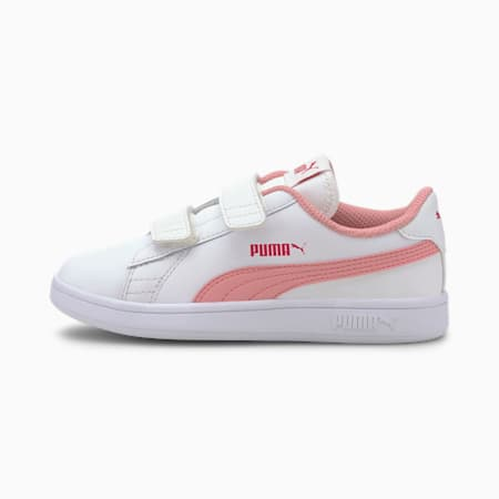 Smash v2 Leather Kids' Trainers, Puma White-Peony-BRIGHT ROSE, small