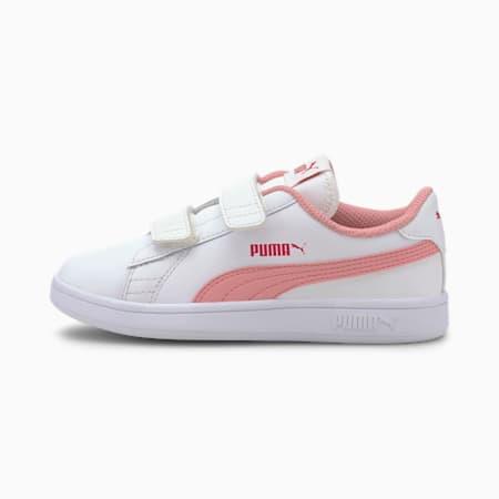 Smash v2 Leather Kids' Trainers, Puma White-Peony-BRIGHT ROSE, small-SEA