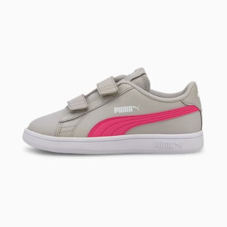 Smash v2 Leather Kids' Trainers, Gray Violet-Glowing Pink, small