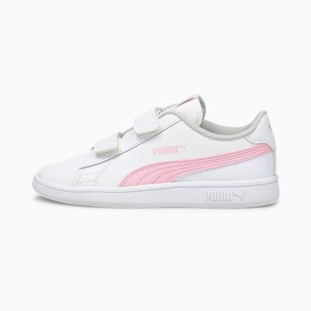 Smash v2 Leather Kids' Trainers, Puma White-Pink Lady, small
