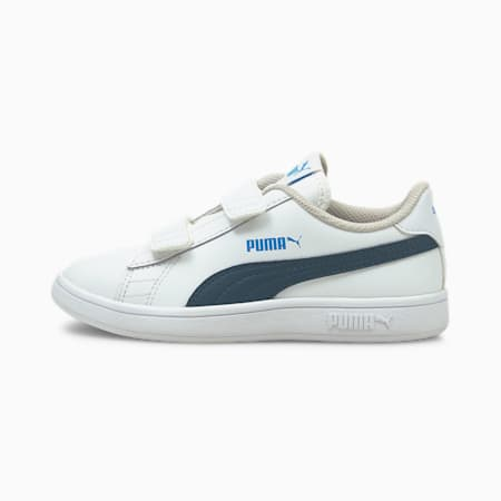 Scarpe da ginnastica in pelle Smash V2 bambino, Puma White-Intense Blue, small