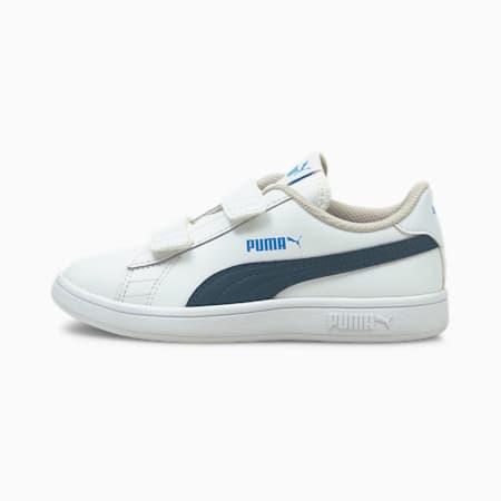 Smash v2 Leder Kinder Sneaker, Puma White-Intense Blue, small