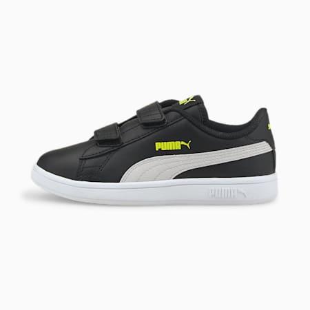 Zapatos deportivos de cuero Smash v2 para niño pequeño, Puma Black-Gray Violet, pequeño