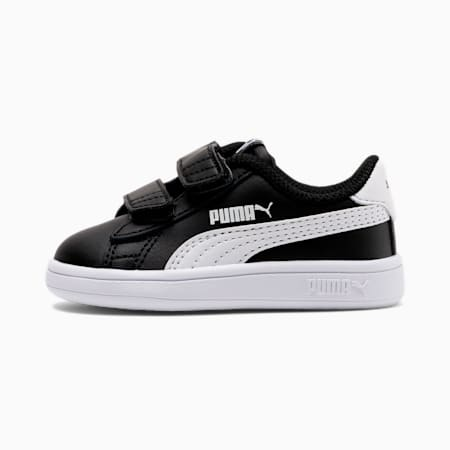 Smash v2 Kids' Trainers, Puma Black-Puma White, small