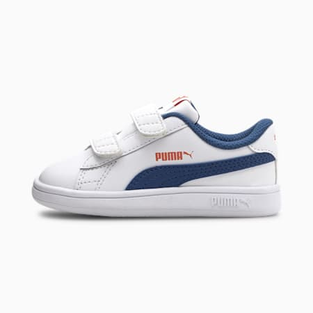 Smash v2 Kids' Trainers, Puma White-Bright Cobalt, small