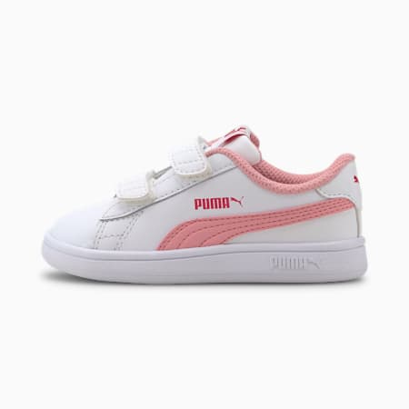 Smash v2 Kids' Trainers, Puma White-Peony-BRIGHT ROSE, small