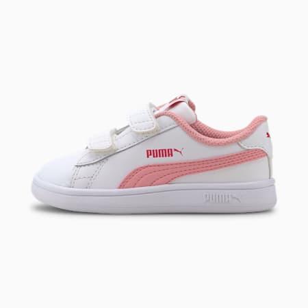 Zapatos PUMA Smash v2 para bebés, Puma White-Peony-BRIGHT ROSE, pequeño