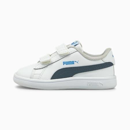 Smash v2 Kids' Trainers, Puma White-Intense Blue, small