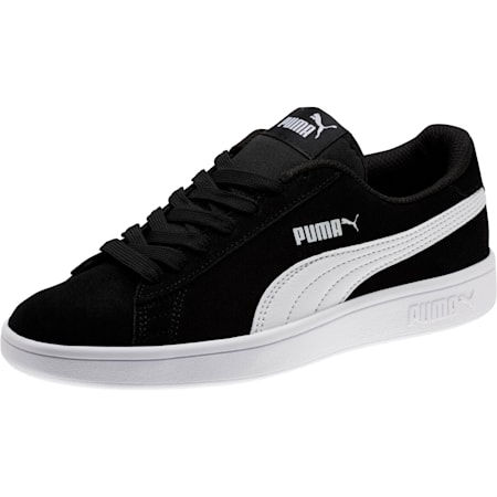 Scarpe da ginnastica in suede Smash V2 Jr, Puma Black-Puma White, small