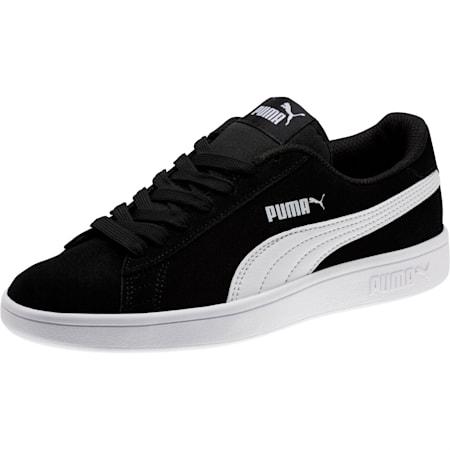Smash v2 Suede Jr Trainers, Puma Black-Puma White, small