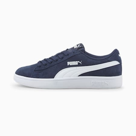 Smash v2 Suede Jr Trainers, Peacoat-Puma White, small-GBR