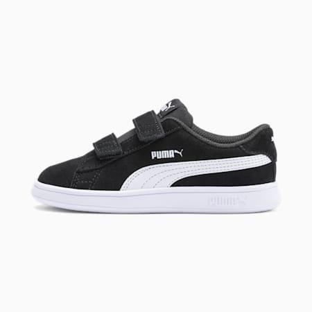 Scarpe da ginnastica in suede Smash V2 bambino, Puma Black-Puma White, small