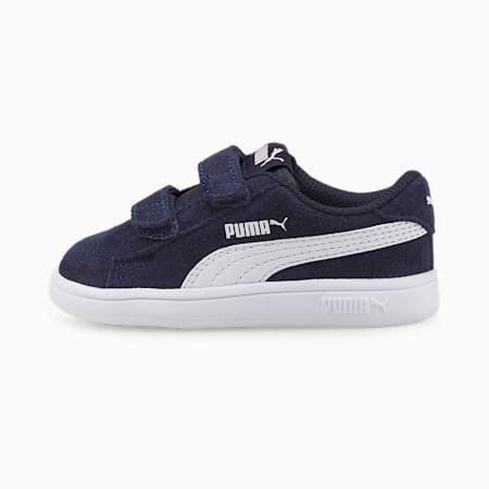 Smash v2 Suede Babies' Tennis Trainers, Peacoat-Puma White, small-GBR