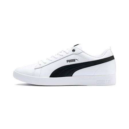 Scarpe da ginnastica da donna in pelle Smash V2, Puma White-Puma Black, small