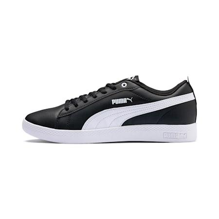 Damskie buty sportowe ze skóry Smash v2, Puma Black-Puma White, small
