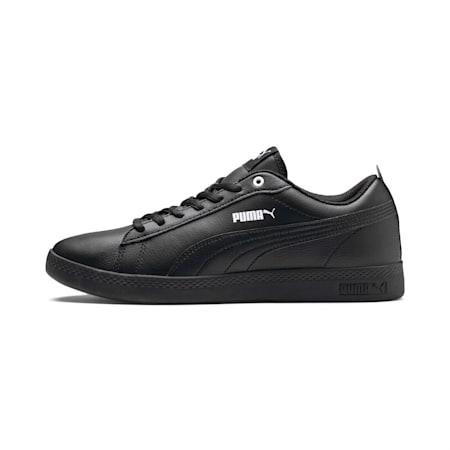 Smash v2 Leder Damen Sneaker, Puma Black-Puma Black, small