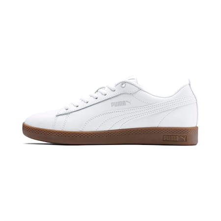 Smash v2 Leather Women's Shoes, Puma White-Gray Violet-Gum, small-IND