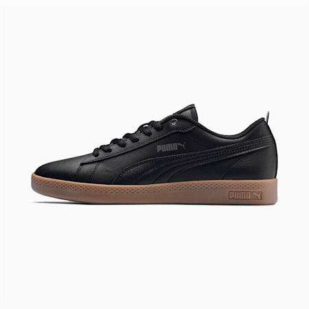 Smash v2 Leather Women's Shoes, Puma Black-Dark Shadow-Gum, small-IND