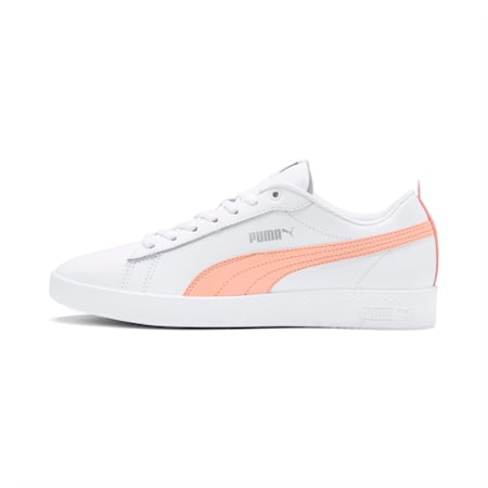 Smash v2 Leather Women's Trainers, White-Peach Parfait-Silver, small