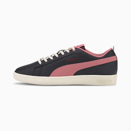 PUMA Smash v2 Leather Women's Sneakers, Black-Foxglove-Burgundy-Whi, small-IND
